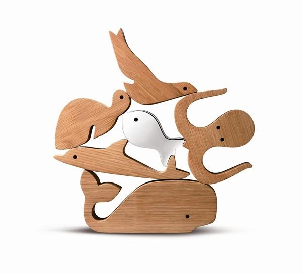图说:童趣积木组所有动物都可堆叠起来,并有无限多的组合方式!